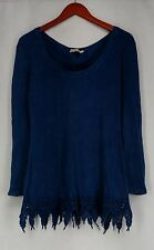 Indigo Thread Co. Top L Mineral Wash Thermal Lace Up Back Blue New