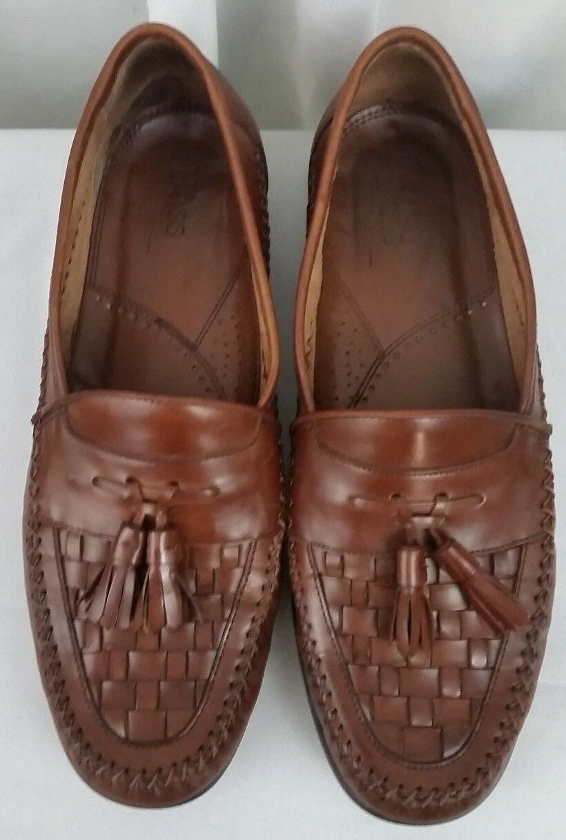 BASS Co. woven leather weejuns tassel brown slip on dress mens shoes SZ 11.5M