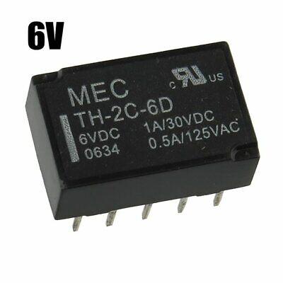 DIP PCB MEC TH-2C-6D DPDT Latching Relay 0.5A 125VAC 1A 30VDC 6Vdc