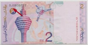 Mazuma *M1123 Malaysia 9th $2 DJ0839727 Last Prefix GVF
