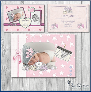 Personalised Baby Birth Announcement Card New Baby Girl Thank You