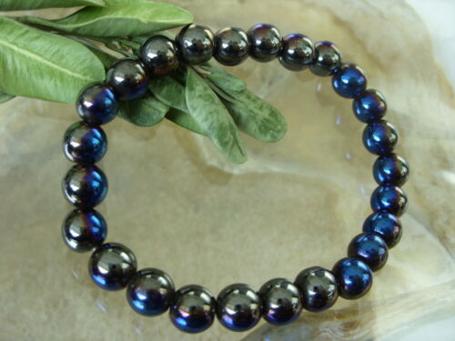 Imán de acero inoxidable bicolor hematites azul Power Pulsera Brazalete de la suerte 19,5-20 cm