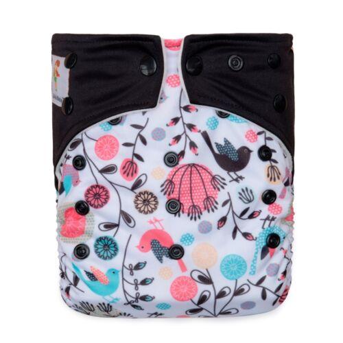KAWAII BABY PRINTED CLOTH DIAPER SNAP CLOSURE 2 MICROFIBER INSERTS BOYS GIRLS