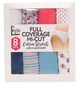 95e8dde8b33e Felina Full Coverage Hi-cut Women's Cotton Stretch Brief Panty 8pk  Multicolor M for sale online | eBay