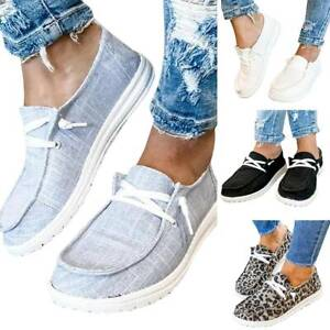 Womens Canvas Loafers Slip On Flat Shoes Ladies Casual Comfy Trainers Sneakers