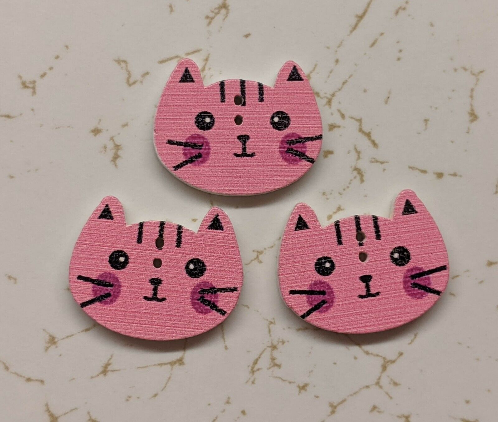 Teal Cat wooden 2 hole button set of 5 L