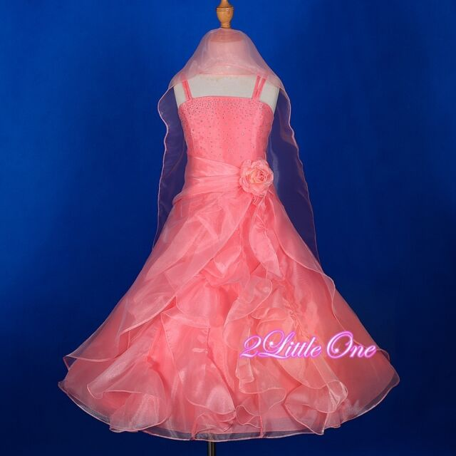 Wedding Flower Girl Pageant Party A-Line Formal Dress Shawl Kid Size 2T-12 FG129