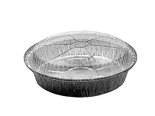 """Diposable Aluminum Container 9/"""" Round Foil Take-Out Pan w//Clear Dome Lid 100//PK"""