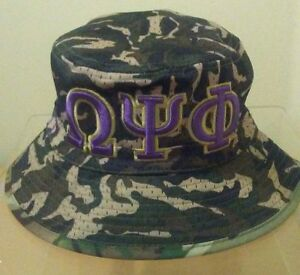 e42b923be Details about Omega Psi Phi Bucket Hat Camo (S/M 7 1/8 to 7 3/8) or (L/XL 7  1/2 to 7 3/4)