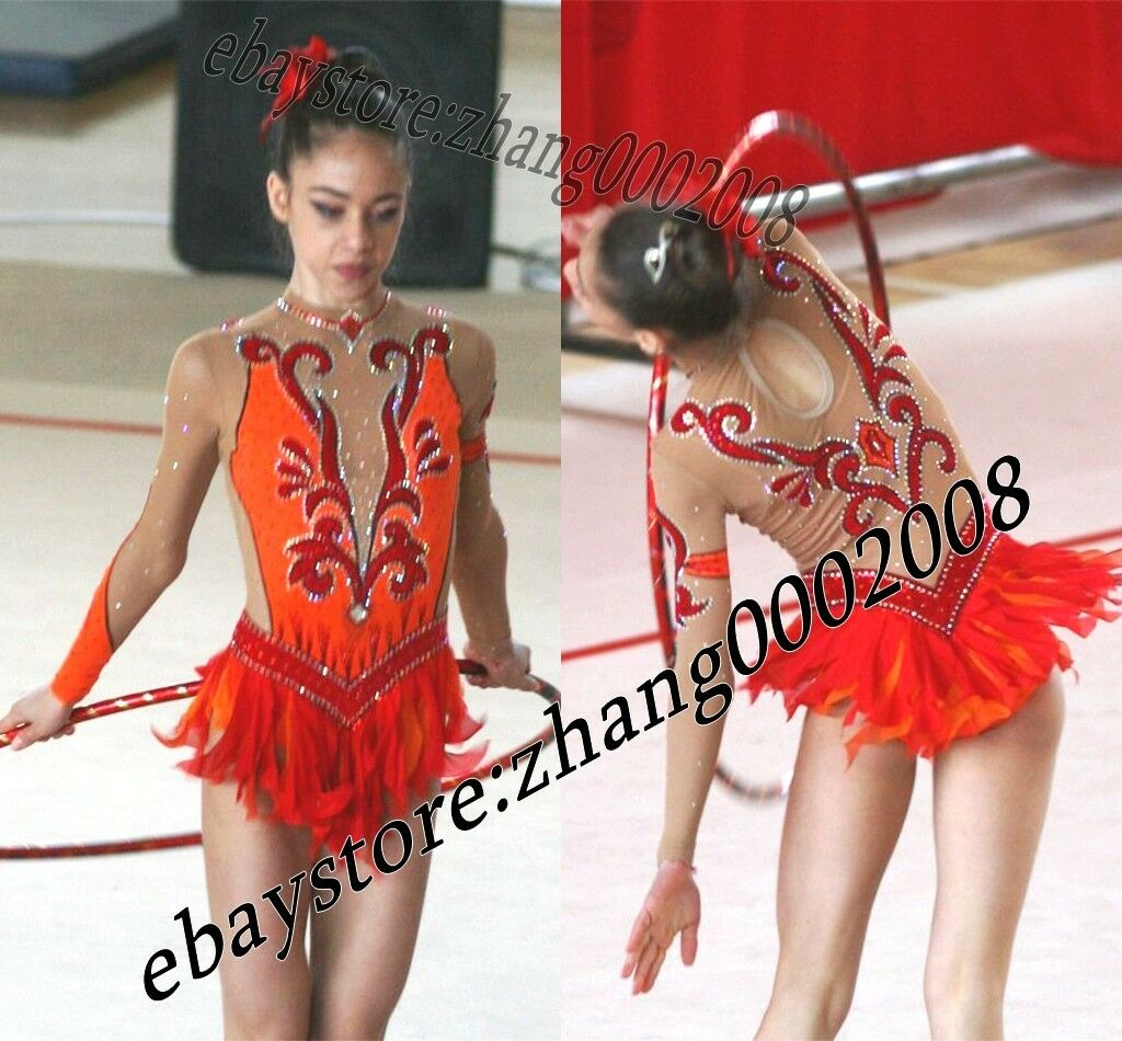 Girls'Competition rhythmic gymnastics leotard.orangered Kids Baton dance costume