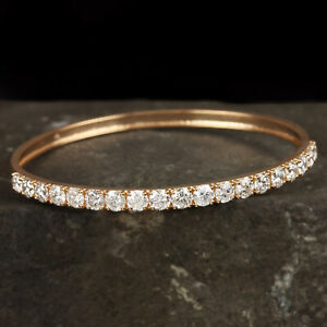 SI-Clarity-H-Color-Diamond-Pave-Bangle-Solid-18k-Yellow-Gold-Bracelet-Jewelry