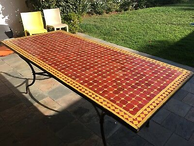 Moroccan Mosaic Tiled Table Steel Frame