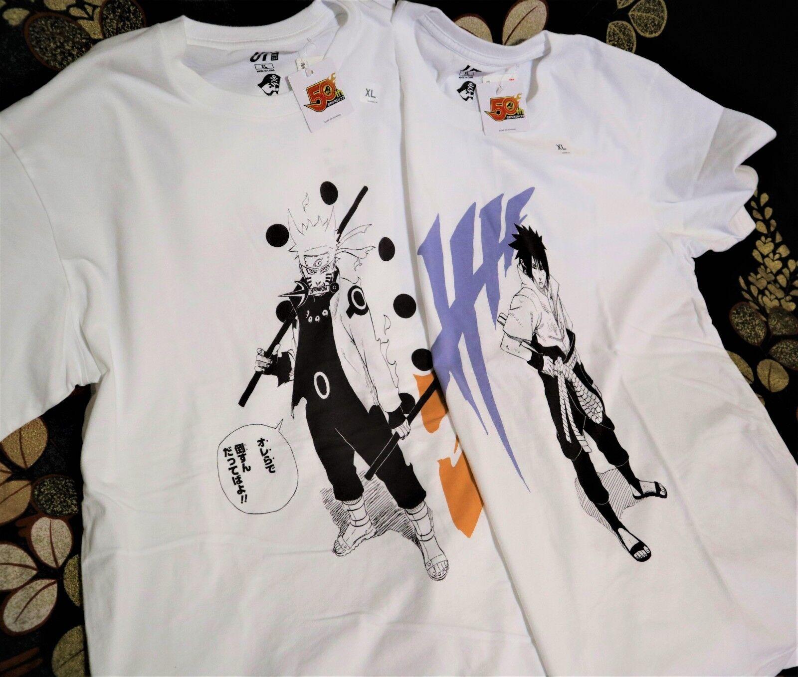d6256f637 Naruto & Sasuke X UNIQLO Set of 2 Shonen Jump 50th Graphic Tee Shirts S,
