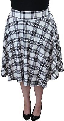 New Womens White Check Tartan Printed Skirt 14-28