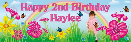 Child Party or 1st Birthday Banner Personalised Baby Rainbow /& Flower Theme