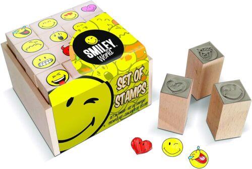 Multiprint Box da 16 Mini Timbri Smiley World 100/% Made in Italy Set Tim