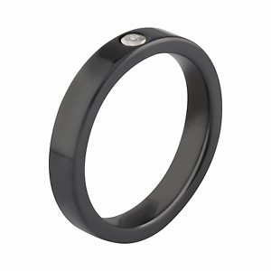 MelanO Ring Eva Ceramic Diamond Größe 54 black Keramik M 01R011 BL schmal