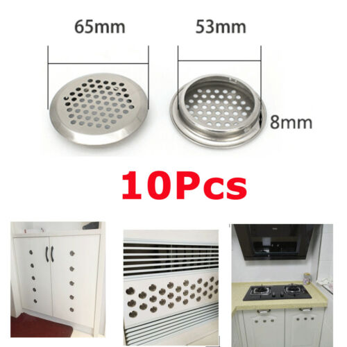 10Pcs 53mm Circular Air Soffit Vents Cover Mesh Louver for Cabinet Wardrobe