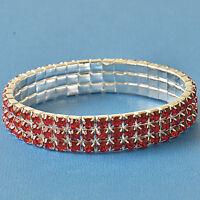 Around Red 3 Row Cubic Zirconia 9K White GF adjustable Womens Bracelet F6089