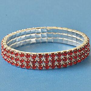 Around-Red-3-Row-Cubic-Zirconia-9K-White-GF-adjustable-Womens-Bracelet-F6089