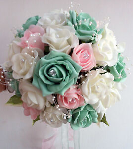 Image Is Loading Wedding Flowers Brides Bouquet Ivory Amp Pale Pink