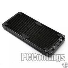 280mm Radiator Aluminum Barb 3/8 OD Black For PC Water Liquid Cooling