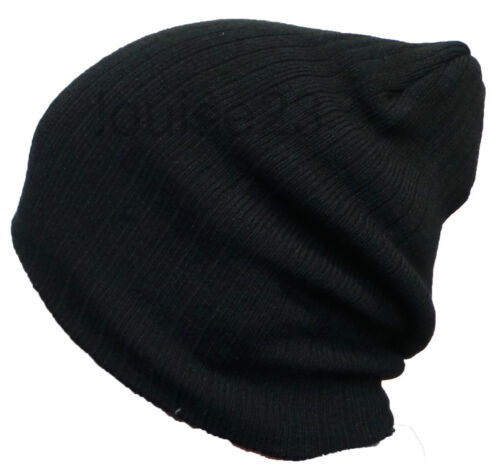 MENS COOL RETRO OVERSIZED SLOUCH CABLE BEANIE HAT BLACK