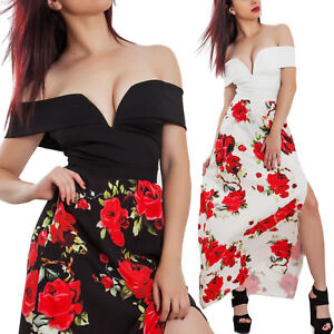 d1357ceaf4fa Caricamento dell immagine in corso Vestito-donna-lungo-gitana-scollato -rose-fiori-spacco-