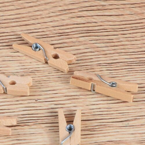 Details about  /100pcs Mini Wooden Clothespins Craft Paper Photo Bra Socks Clothes Pins Pegs