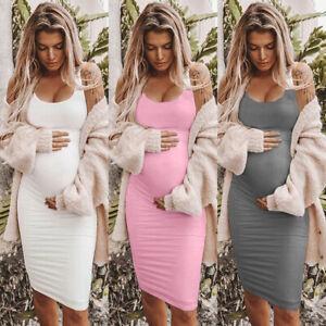 Scoop-Neck-Sleeveless-Dress-Pregnant-Women-Slim-Cloth-Summer-Casual-Maternity