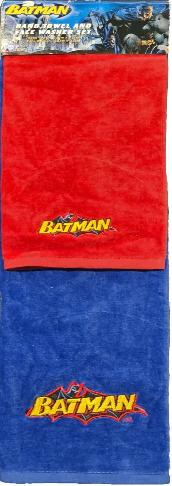 Batman Embroidered 1 x Blue Hand Towel + 1 x Red Face Washer set | DC Superhero