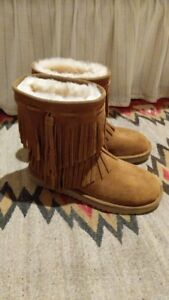 99a226e0230 Details about New Koolaburra UGG Women's Fringe Winter Boots Size 7  Chestnut and Size 10 Cub