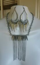 Punk Rock Heavy Metal Modernist Studded Spiked Chain Necklace Hoop Earrings Set