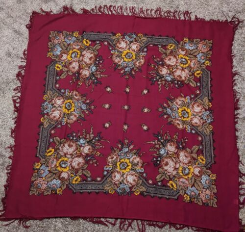 Authentic Pavlovsky Russian Headscarf Shawl 100% W