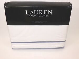 215f8c19 NIB RALPH LAUREN White Blue SPENCER Border Sateen 100% Cotton KING ...