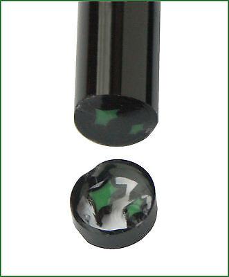 Murrinistange (6/7mm) Schwarz-Klar-Grüne Sterne, 33cm