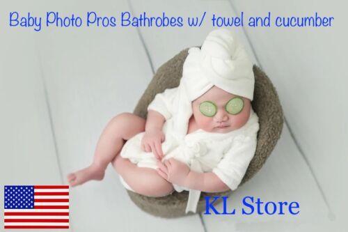 Bathrobes Newborn Baby Photo Props with Towel/ Gel Cucumber for Boys/ Girls *US*