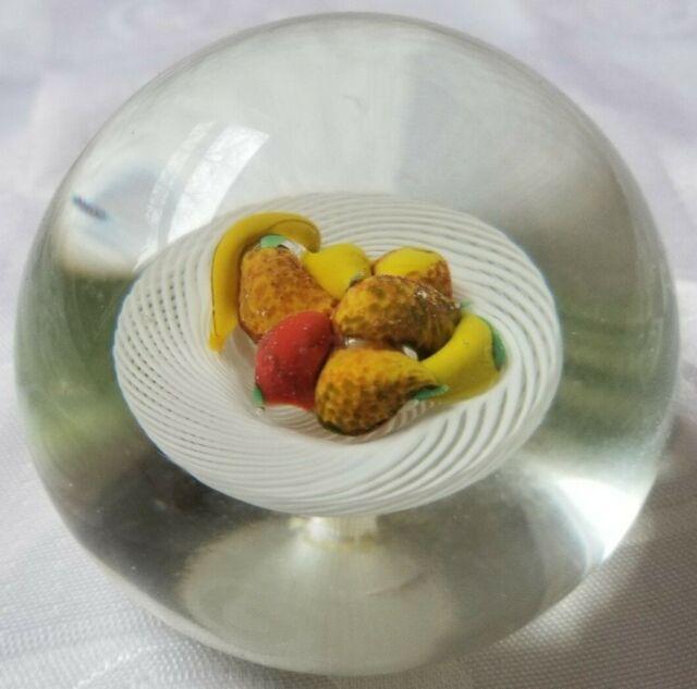 Murano Glass Paperweight Fruit Basket Latticino Table Spiral Filigree Lampwork