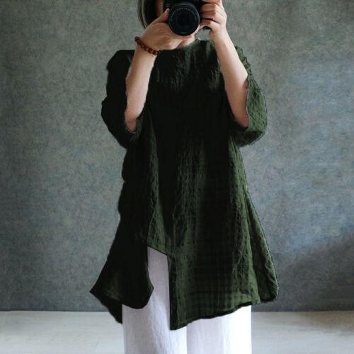 Free Shipping Women Vintage Long Sleeve Cotton Linen Asymmetric Top Blouse Shirt