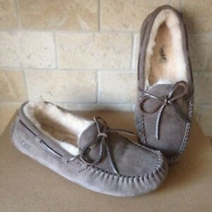 7dabc4d42cc Details about UGG Dakota Metallic Slate Slippers Moccasins Suede Sheepskin  Size US 10 Womens