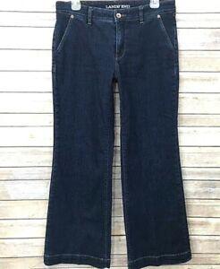 84987bca2e752c Lands' End Womens Trouser Jeans Wide Leg Size 8 Mid Rise Dark Wash ...