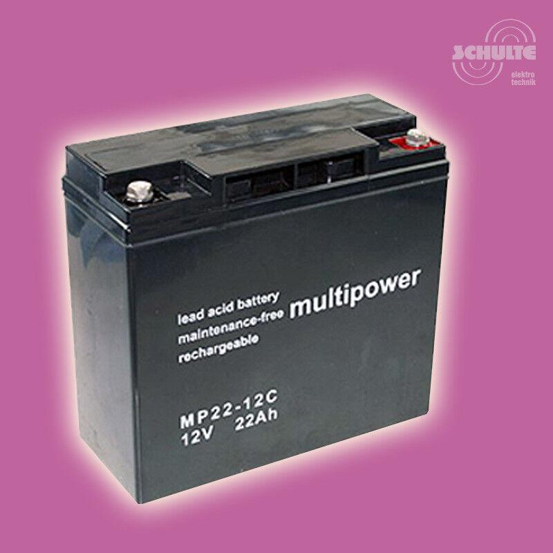 Blei-AGM-Akku Bleibatterie Multipower MP22-12C 12V 22Ah Zyklentyp wartungsfrei