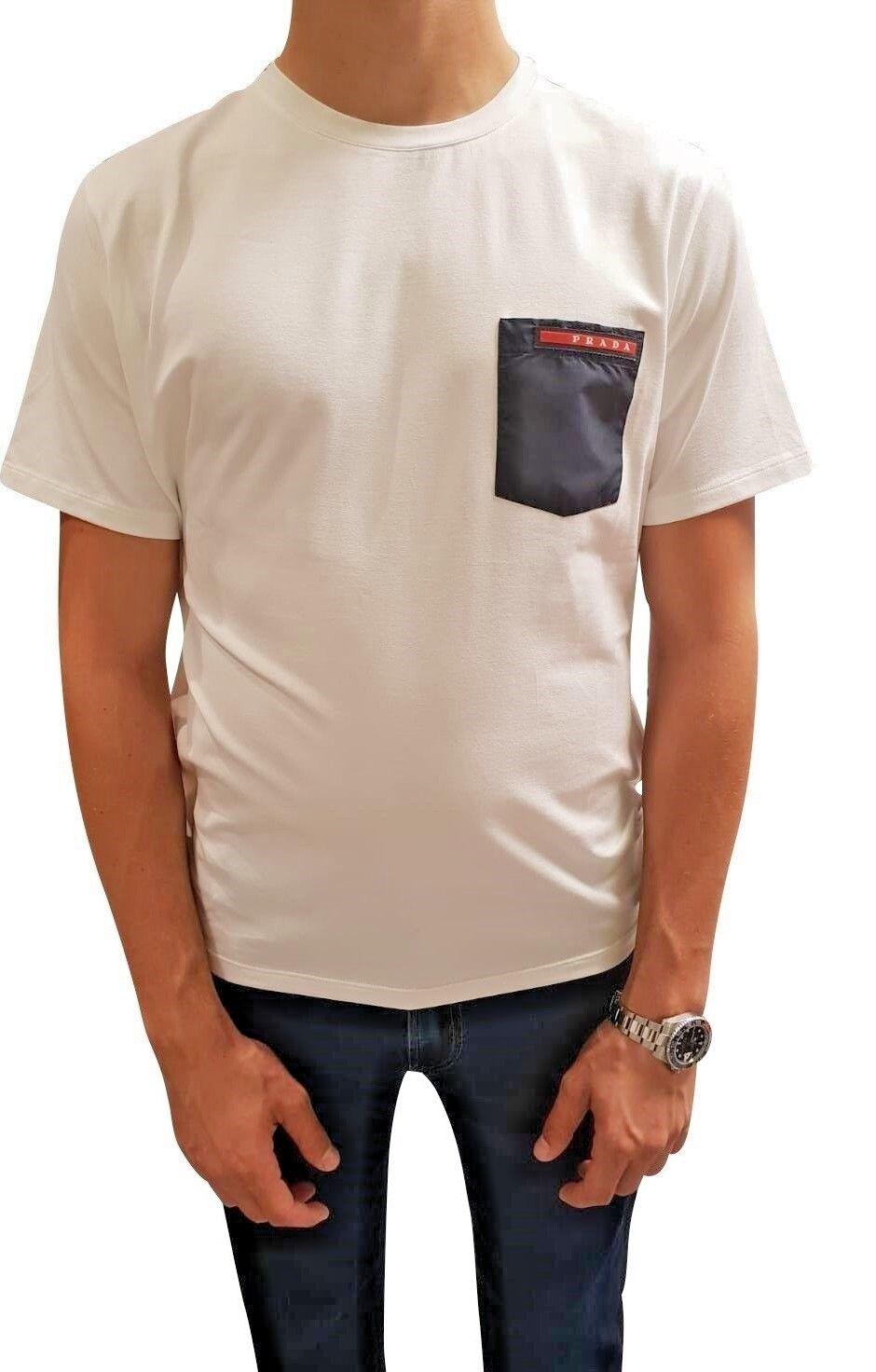 PRADA T-shirt  Short Sleeve Weiß Blau Girocollo M/C Cotoon Stretch