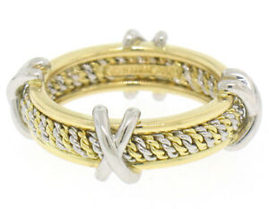 Mavito-Solid-Platinum-18k-Yellow-Gold-Twisted-Wire-amp-X-Eternity-Band-Ring-Sz-5-5