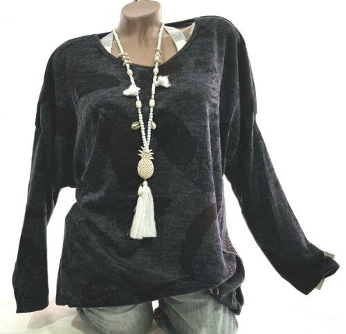 Lässiger Damen Pullover Litus Gr.46-48-50  Pulli Tunika XL-XXXL Shirt Bluegray