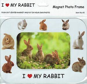 I Love (Heart) My Rabbit Magnetic Photo Frame & Magnet - Various Rabbits