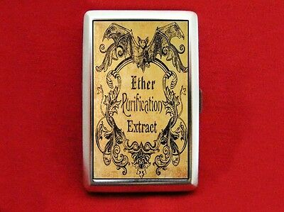 VAMPIRE BAT ANTIQUE ETHER LABEL VINTAGE MEDICINE WALLET CARD CIGARETTE ID CASE