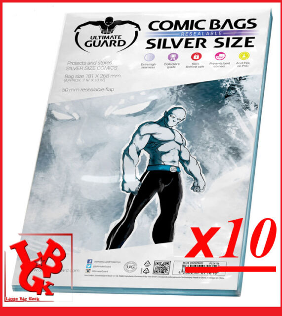 Pochettes Protection Silver Size REFERMABLES comics x 10 Marvel Panini # NEUF #