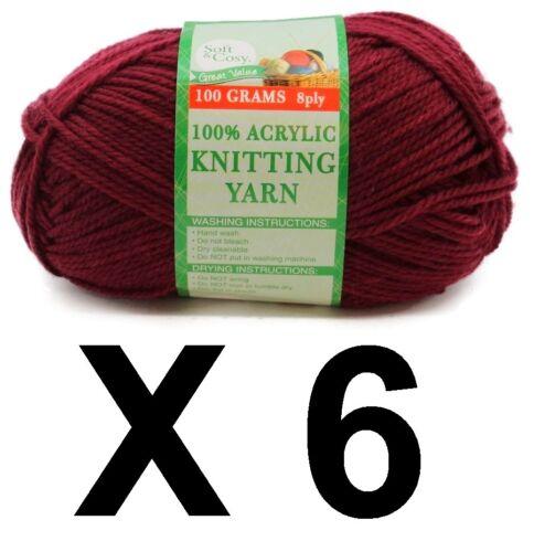 Knitting wool 6 x 100g acrylic yarn 8ply Maroon 100/% Brand New