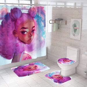 Pretty Girl Bathroom Rug Set Shower Curtain Non Slip Toilet Lid Cover Bath Mat